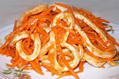 Морковь по корейски с кальмарами