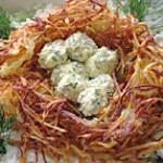салат Гнездо глухаря с грибами