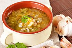 Суп рассольник с рисом